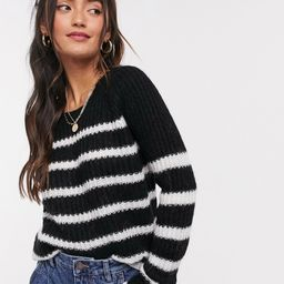 Superdry Mylee Black and White Stripe Knitted Sweater   ASOS (Global)
