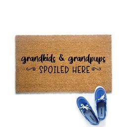 Grandkids & Grandpups Spoiled Here Doormat Gift for   Etsy   Etsy (US)