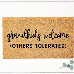 Grandkids Welcome Here Doormat Grandparents Gift Mothers Day   Etsy   Etsy (US)