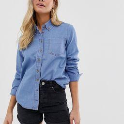 ASOS DESIGN denim shirt in cali light wash-Blue   ASOS (Global)