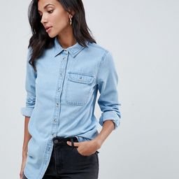 ASOS DESIGN Tall denim shirt with pocket in midwash blue   ASOS (Global)