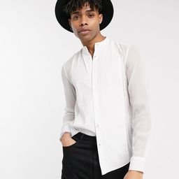 ASOS DESIGN regular fit sheer shirt with contrast bib & mandarin collar-White | ASOS (Global)
