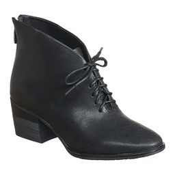 Antelope Women's Casual boots Black - Black Leather Lace-Up Bootie - Women | Zulily