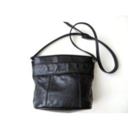 Black Leather Bucket Bag, Crossbody Shoulder Long Strap Satchel Purse, Minimalist Style, Hobo Medium | Etsy (US)
