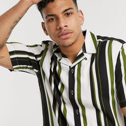Only & Sons shirt in vertical stripe white black and green | ASOS (Global)