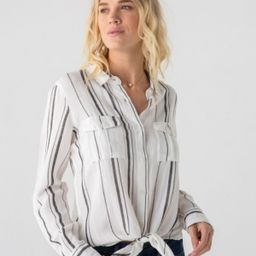 Thread Supply Striped Tie Front Long Sleeve Woven | Macys (US)