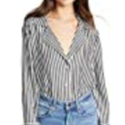 PAIGE Women's Elora Shirt, White/Black Stripe, S | Amazon (US)