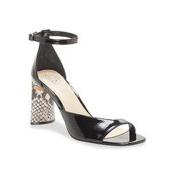 Vince Camuto Madilin Sandal - Women's - Black/Off White Snake Print - Ankle Strap | DSW