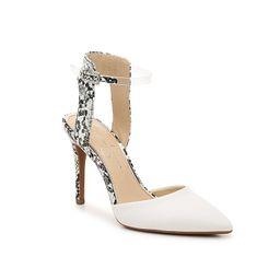 Jessica Simpson Hadiya Pump - Women's - White/Black/Clear Snake Print - Ankle Strap Stiletto | DSW