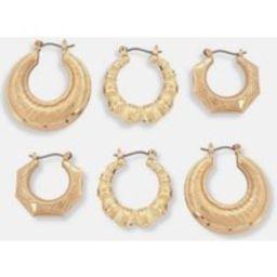 Gold Look Creole Hoop Earrings 3 Pack | Missguided (US & CA)