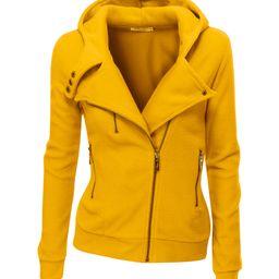 Doublju Women's Fleece Jackets MUSTARD - Mustard Fitted Fleece Moto Jacket - Women | Zulily