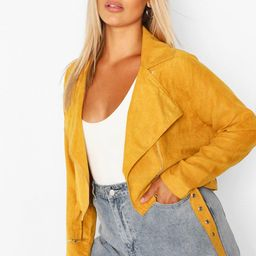 Womens Plus Belted Suedette Crop Moto Jacket - Yellow - 14 | Boohoo.com (US & CA)