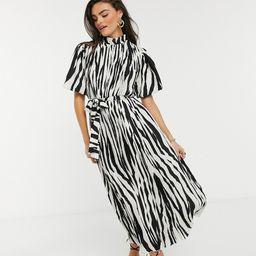 Forever Unique high neck midi dress in zebra-Multi | ASOS (Global)
