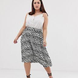 PrettyLittleThing Plus pleated midi skirt in zebra-Multi | ASOS (Global)