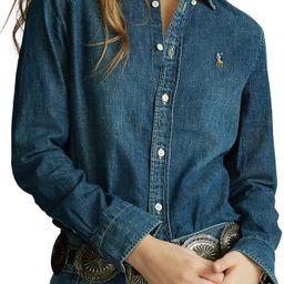 Women's Polo Ralph Lauren Denim Button-Down Shirt, Size Medium - Metallic | Nordstrom