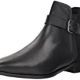 Kenneth Cole REACTION Women's Date 2 Nite Flat Ankle Bootie with Buckle Detail Boot, Black, 6 M US | Amazon (US)