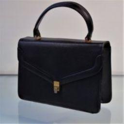 Italian Black Leather Top Handle Purse True Vintage 1940S Structured Grandmacore Bag | Etsy (US)