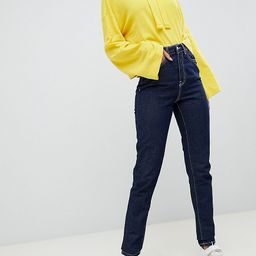 Noisy May Tall dark wash contrast stitch mom jean in blue | ASOS (Global)