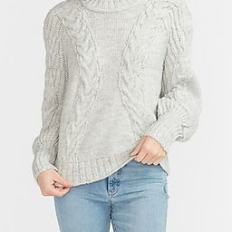 Cable Knit Balloon Sleeve Sweater   Express