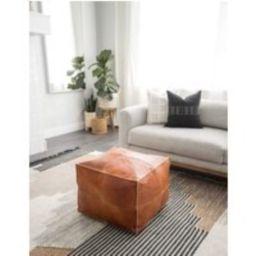 Square Leather Pouf, 40%off - Brown Pouf, Moroccan Leather Pouf Pouffe, Square Ottoman | Etsy (US)
