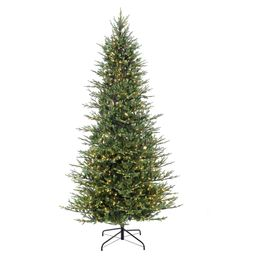 Puleo International 9 ft. Pre-Lit Slim Balsam Fir Artificial Christmas Tree with 800 UL-Listed Clear | The Home Depot