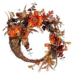 Allstate Floral Pumpkin and Sunflower Artificial Floral Cornucopia Thanksgiving Wreath, Orange 22...   Target