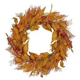 Northlight Yellow and Orange Berry and Leaves Fall Harvest Artificial Wreath - 24-Inch, Unlit   Target