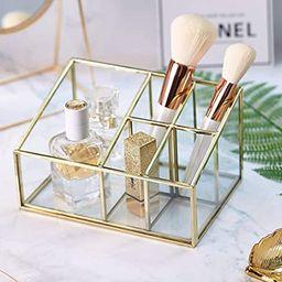 PuTwo Makeup Organizer Vintage 5 Compartments Glass & Metal Cosmetic Organizer Brass Makeup Stora...   Amazon (US)