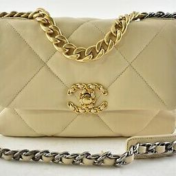 Chanel 19 Small 20A Beige Leather Quilted Gold Silver CC Chain Flap Shoulder Bag   eBay US