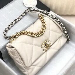 CHANEL 19 SMALL FLAP CC LOGO WHITE CLASSIC QUILTED BAG   eBay US