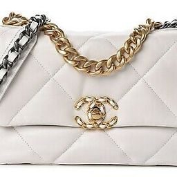 Chanel 19 Small 20A White Leather Quilted Gold Silver CC Chain Flap Shoulder Bag   eBay US