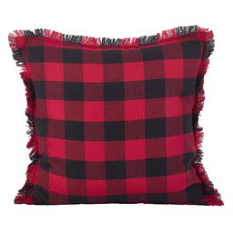 """20"""""""" Fringed Buffalo Plaid Pillow Down Filled Red - SARO Lifestyle   Target"""