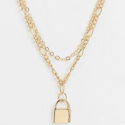 Reclaimed Vintage inspired multirow padlock necklace in gold | ASOS (Global)