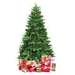 Giantex 7' PVC Artificial Pine Tree Pre-Lit Christmas Tree w/ 460 LED Lights & Pine Cones   Walmart (US)