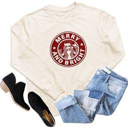 GEMLON Women Merry and Bright Shirt Christmas Coffee Graphic Long Sleeve Baseball Top Blouse | Amazon (US)