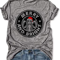 Merry and Bright Funny Christmas Coffee T Shirt Short Sleeve Letter Print Shirts Round Neck Loose... | Amazon (US)