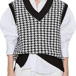 SAFRISIOR Oversized Houndstooth Knitted Vest Sweater Vintage V Neck Loose Sleeveless Sweater | Amazon (US)