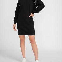 Pearl Embellished Sweatshirt Dress   Express
