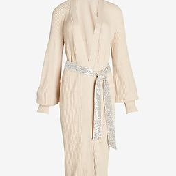 Sequin Belted Duster Cardigan   Express