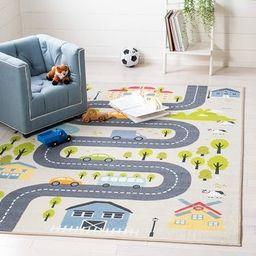 "Safavieh Kids Playhouse Garda Winding Road Rug (Beige/Green - 5'5"" X 7'7"") | Overstock"
