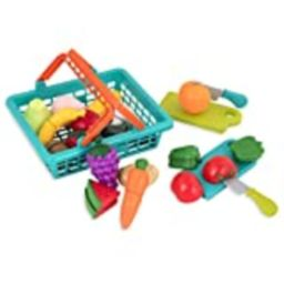 Battat – Farmers Market Basket – Toy Kitchen Accessories – Pretend Cutting Play Food Set for Toddler | Amazon (US)