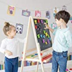 Teamson Kids - Little Artist Dreamer Art Kids Easels Double-Sided Whiteboard & Chalkboard with Paint | Amazon (US)
