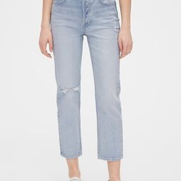 High Rise Distressed Cheeky Straight Jeans   Gap (US)