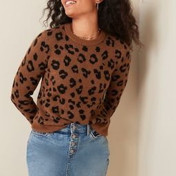 Cozy Leopard-Print Crew-Neck Sweater for Women   Old Navy (US)