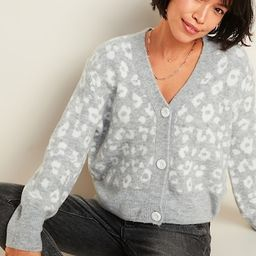 Cozy Leopard-Print V-Neck Cardigan Sweater for Women   Old Navy (US)