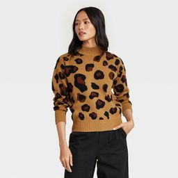 Women's Leopard Print Turtleneck Pullover Sweater - Who What Wear™ Brown   Target