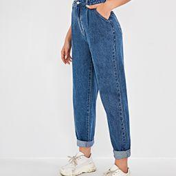 High Waist Fold Pleat Roll Hem Jeans | SHEIN