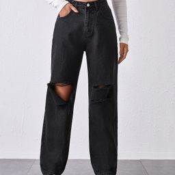 High-Waisted Ripped Baggy Jeans | SHEIN