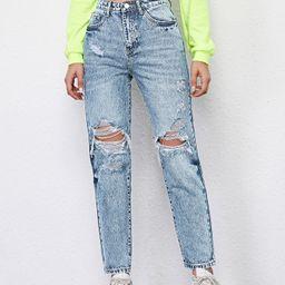 High Waist Ripped Mom Jeans | SHEIN