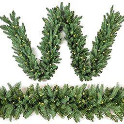 Homekaren Christmas Garland 9 Ft by 12 inch Prelit Fraser Fir Xmas Garland with 50 LED lights 350... | Amazon (US)